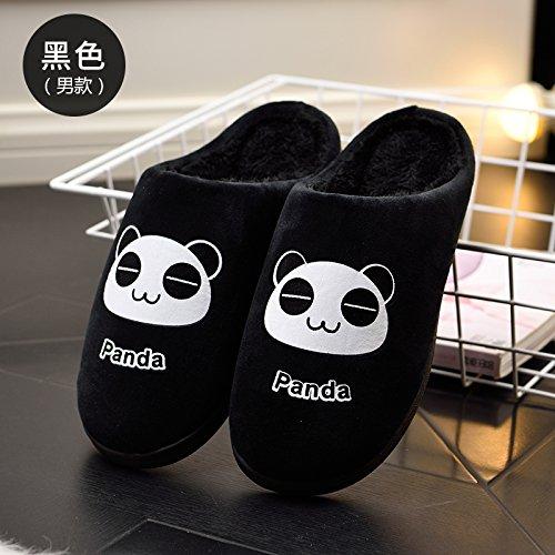 Y-Hui pantofole per donne pantofole in autunno e in inverno,36-37 [per 34-35 piedi indossare],Uomo nero