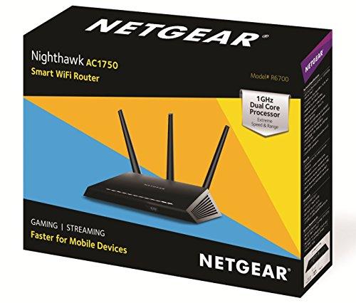 NETGEAR R6700 Nighthawk AC1750 Dual Band Smart WiFi Router, Gigabit Ethernet (R6700)