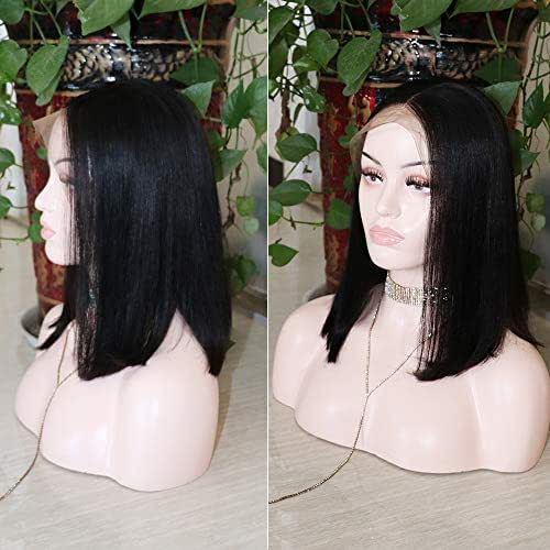 CHEETAHBEAUTY Hair Short Bob Wigs Brazilian Human Hair Straight 13x4 Lace Front Bob Wigs for Black Women 150% Density Pre Plucked with Baby Hair Natural Color(12inch-bob)