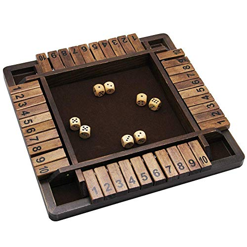 Wooden Shut The Box Game with Dare Cards and Carry Bag, 12 Inch, 2 to 4 Player Family Game, Adult and Kids Board Games…