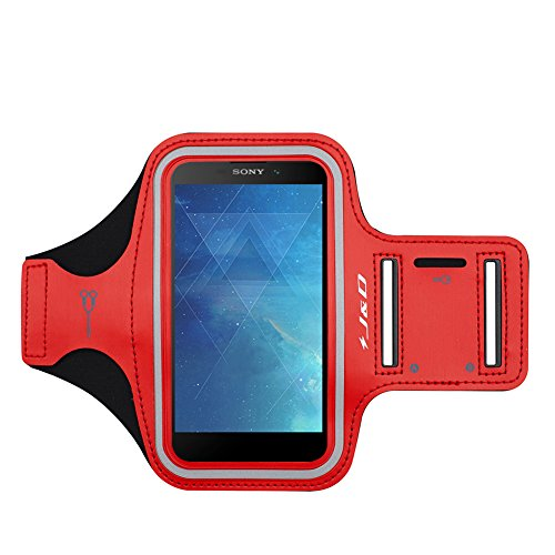 J&D Armband Compatible for Xperia L2 Armband/Xperia L3 Armband, Sports Armband with Key Holder Slot for Sony Xperia L2, Sony Xperia L3 Running Armband, Perfect Earphone Connection - Red