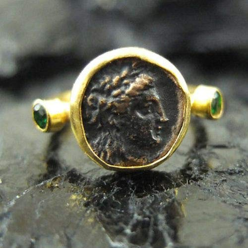 Ancient Design Handmade Hammered Roman Coin Ring With Emerald 22K Gold Over 925K Sterling Silver ()