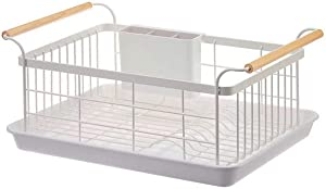 BRIAN & DANY Kitchen Dish Drainer, Drying Rack with Full-Mesh Storage Basket, Wooden handle, Removable Cutlery Tray