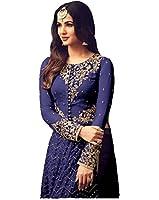 Mira Creation Women'sNet, Santoon & Nazneen FabricMulticolorEmbroidered Semi-Stitched Salwar Suit (Size : Free)