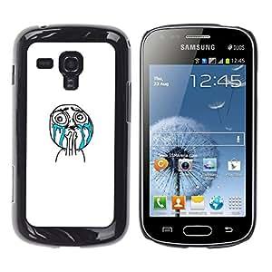 EJOY---Cubierta de la caja de protección la piel dura para el / Samsung Galaxy S Duos S7562 / --Llorando Cara Meme Troll Wtf