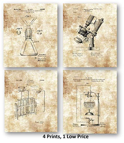 - Science Lab Scientific Laboratory Equipment Drawings Artwork - Set of 4 8 x 10 Unframed Patent Prints - Great Gift Science Teachers, Research Offices Scientists