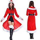 Soo Angeles Christmas Women Red Hooded Cloak Mrs.Claus Santa Costume Sexy Long Velvet Cape Dress Outfit with Belt