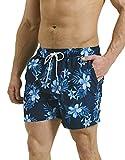 Threadbare Mens Swimming Board Shorts Swim Trunks Beach Summer Mesh Lined Swimwear Floral,Navy,S
