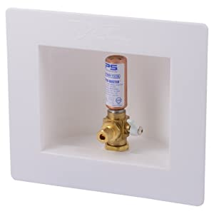 Sharkbite 25033A Ice Maker Outlet Box with Water Hammer Arrestors, 1/2 inch x 1/4 inch Compression, Push-to-Connect Copper, PEX, CPVC, PE-RT Pipe