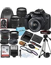 Canon EOS 2000D / Rebel T7 DSLR Camera with EF-S 18-55mm + EF 75-300mm Daul Lens + SanDisk 32GB Memory Card + Tripod + Case + Wideangle Lenses + ZeeTech Accessory Bundle (21pc Bundle)