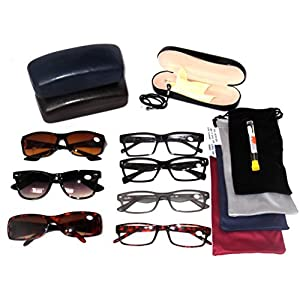 READING GLASSES Fashionable Plastic Men's Styles Wholesale Price Lot 5 Pack EYEGLASSES 4 Clear 1 Bifocal Sunglasses 4 Soft Pouches 1 Hard Case 1 Cord 1 Screwdriver Set 12 +3.50 by Bagatelles