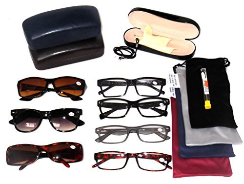 READING GLASSES Fashionable Plastic Men's Styles Wholesale Price Lot 5 Pack EYEGLASSES 4 Clear 1 Bifocal Sunglasses 4 Soft Pouches 1 Hard Case 1 Cord 1 Screwdriver Set 12 +3.50 - Bifocal Wholesale Sunglasses