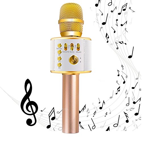 EMISH Wireless Karaoke Microphone 3-in-1 Microphone Speaker 2600mAh Portable Karaoke Machine Built-in Bluetooth Speaker Machine for iPhone Android Smartphone or Pc(Golden)