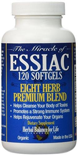 Gélules de thé Essiac, 796 mg, 120 gélatineuses molles, huit Essiac tisane, aucun ne brassage, aucun réfrigération, très bien pour les voyages, approvisionnement de 30 jours