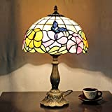 Tiffany Style Table Lamp, MKLOT Ecopower Lighting Butterfly Flower 12-Inch Wide Glass Shade 12T27R052# Retro Art Table Lamp Light with 1-Light