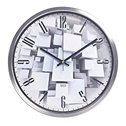 Color Map Products-Modern Wall Clock, 12 Inch Silent Non Ticking Quality Quartz Battery Operated Easy to Read Home/Office/School Clock, With Stainless Steel Frame(Silvery)