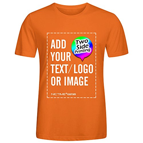 NICTIME Custom Tshirts Design Your Own for Men Front and Back Print Orange