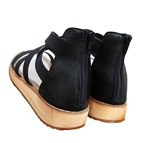 Neri Incrociato Sandalo Elastico Smilun Cinturino Zeppa Sandali Con wqTAT0
