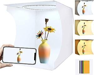 Portable Ring Light Photo Studio Light Box, Folding Photography Photo Lighting Studio Box Shooting Tent Kit with White Light/Soft Light/Warm Light (64 pcs LED Lights 6 Colors Backdrops)