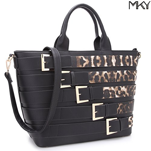 Buckle Tote Bag (Extra Large Leather Tote Bag Designer Shoulder Handbag Buckle Details Removable Strap Black and Leopard)