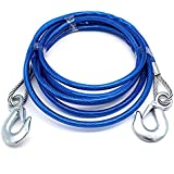 4M 5 Tons Steel Wire Tow Cable Tow Strap Towing Rope With Hooks For Heavy Duty Car Emergency