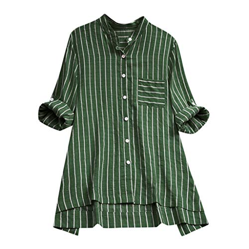 Summer Tops for Women 2019 Tronet Women Vertical Stripe Loose Tunic Cotton Linen t-Shirt Casual Blouse Tops
