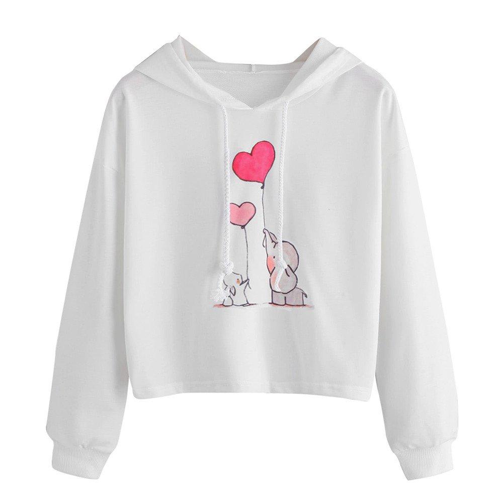 Womens Teen Girls Long Sleeve Hoodie Sweatshirts Casual Cute Cartoon Print Hooded Crop Pullover Blouse Tops