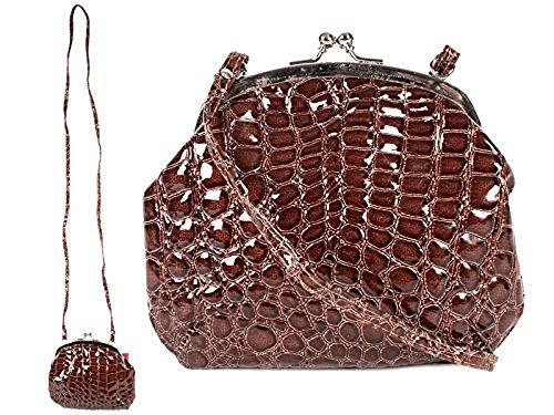 Damen Croc Haut Effekt kleine Abendtasche–Umhängetasche–hb-spu braun