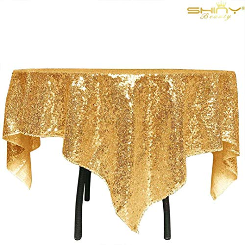 ShinyBeauty 50x50Inch Square Gold Sequin Tablecloth,50x50Inch Tablecloth Perfert for Birthday,for Party,for Wedding]()