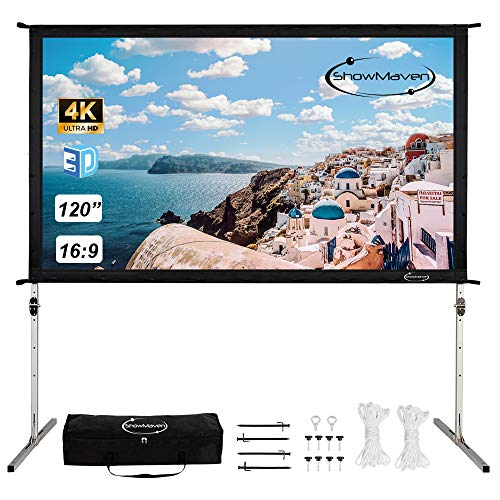 "ShowMaven 100/"" 16:9 HD Adjustable Tripod Projector Projection Screen Portable"