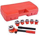 K&A Company Ratchet Ratcheting Pipe Threader Kit Set with 6 Dies and Storage Case Steel 1/4 '', 3/8'', 1/2 '', 3/4'', 1 '', 1 1 / 4''