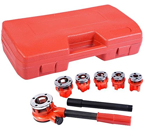 (K&A Company Ratchet Ratcheting Pipe Threader Kit Set with 6 Dies and Storage Case Steel 1/4