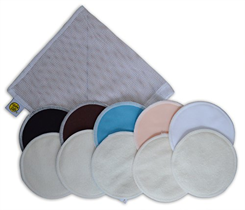 (Organic Bamboo Nursing Pads (10 Pack) with Laundry Bag - Ultra Soft, Offers Good Protection Against Leaking, Reusable, Hypoallergenic, Washable Breastfeeding Pads(Dark Color).)