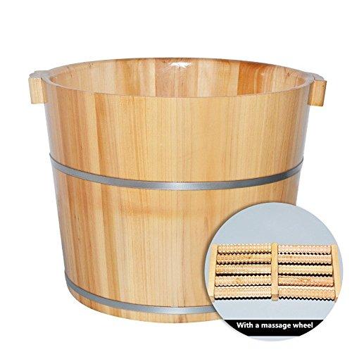 Foot Bath Barrel Wood Foot Basin Wooden Bucket Foot Barrels Massage Beads Foot Tub (Bath Wood Bucket)