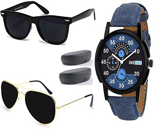 b6d2ed073db Image Unavailable. Image not available for. Colour  SHEOMY COMBO OF 2  STYLISH GOLDEN BLACK AVIATOR AND SILVER LIGHT BLUE AVIATOR SUNGLASSES ...