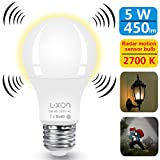 Motion Sensor Light Bulb 5W Smart Bulb Radar Dusk to Dawn LED Motion Sensor Light Bulbs E26 Base Indoor Sensor Night Lights Soft White 2700K Outdoor Motion Sensor Bulb Auto On/Off by Luxon