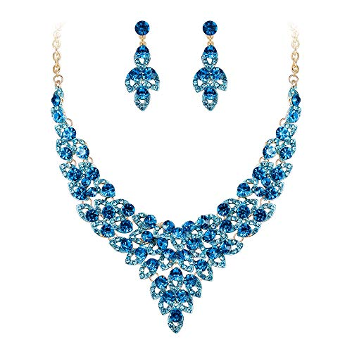 - EVER FAITH Crystal Bib Collar Statement Hollow Leaf Necklace Earrings Set Blue Gold-Tone