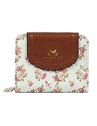 Badiya Women's Vintage Cute Floral Zip Mini Wallet Short Design Coin Purse