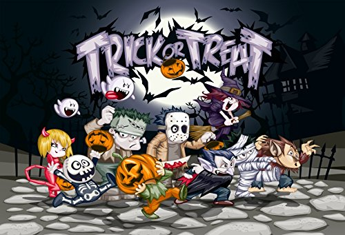 Leowefowa Halloween Trick or Treat Cartoon Backdrop 10x8ft Vinyl Photography Backgroud Zombie Wizard Skull Ghost Grimace Pumpkin Flying Bats Horror Moonnight Children Costume Party]()