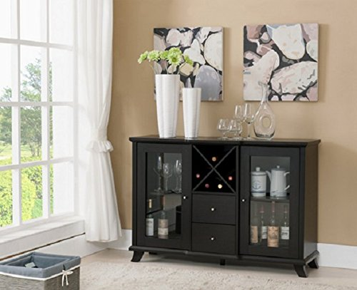 Modern Sideboard Buffet Table Server with Wine Rack, 2-Drawers & Storage Cabinets Finished in a Dark Brown Wood Tone. Add This Contemporary Furniture Piece to Your Kitchen or Bar Area. This Credenza Cabinet Stand Also Makes a Beautiful Addition to Your Dining Room Set.