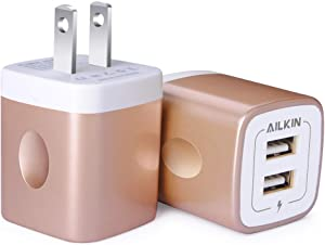 USB Wall Charger, Charger Block, AILKIN 2.1A Multiport Fast Charge Power Brick Cube Plug Box Base Adapter for iPad, iPhone, iPod, Samsung Galaxy, Huawei, HTC, LG, or Other Cell Phone Smart Devices