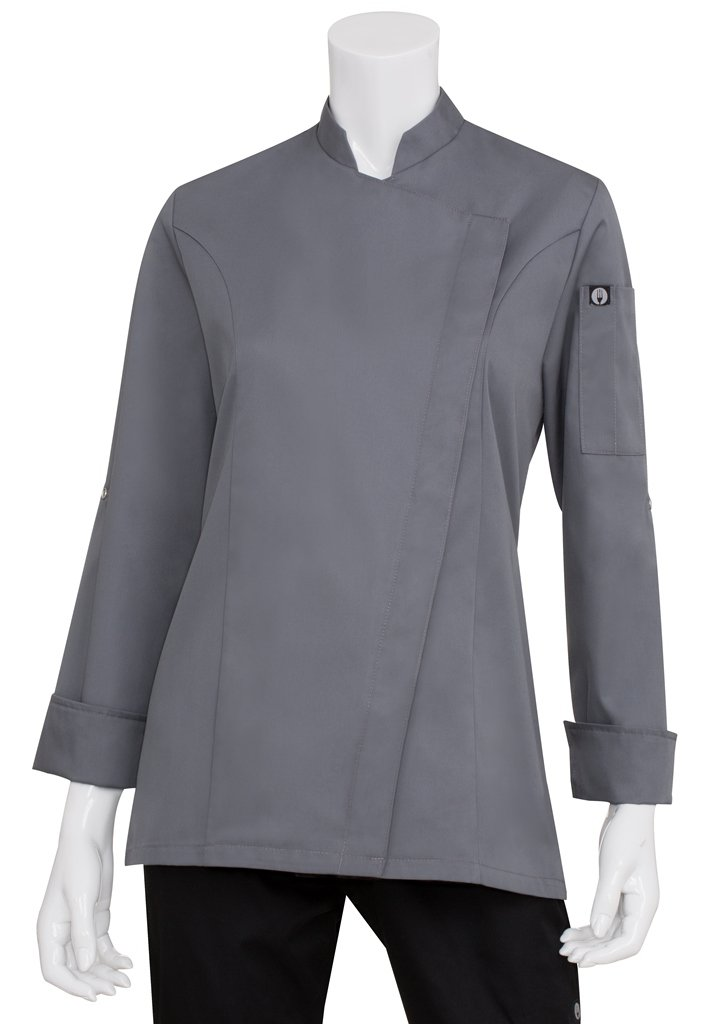 Chef Works Women's Lansing Chef Coat, Grey, X-Small