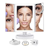 WONDER MIRROR 2019 Led Lighted Trifold Makeup Mirror w/Built-in Air-Vitamin Anion Generator for Ionic Conditioning + Big 10x Magnification Mirror w/Suction-Cups + Charger w/Long 7 ft Cord