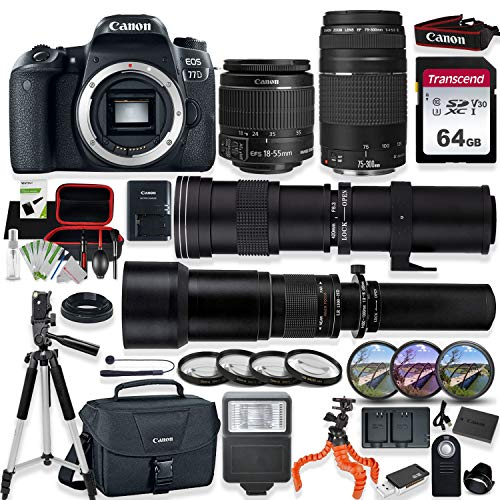 Canon EOS 77D DSLR Camera with 18-55mm STM Lens, Canon 75-300mm Lens, 420-800mm Telephoto Lens & 650-1300mm Lens Kit with Prime Accessory Bundle