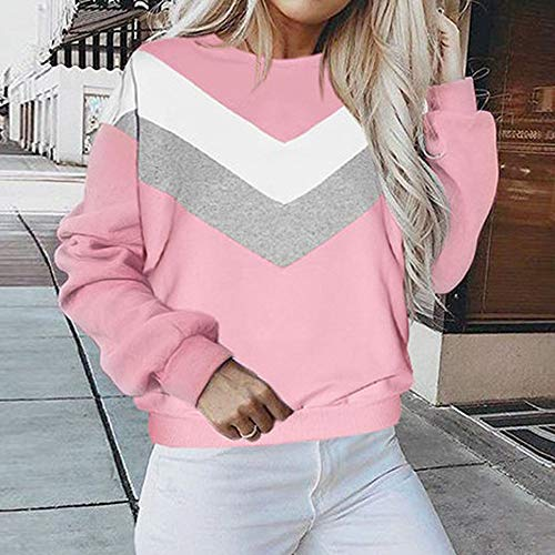 Sleeve Crewneck Long Hooded Jacket Coat Women's Patchwork Sweatshirt Tops Sweater Blouse Hoodie Pullover Outwear Pink Shirt tSwHqAX