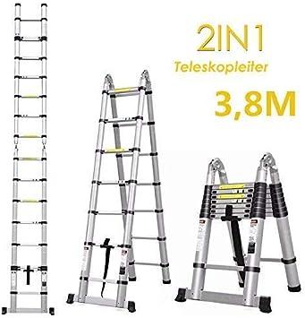 bxzcb Estante-Soporte de escalera Escalera plegable de aluminio de 3.8M y escalera telescópica con base extendida Escalera de aluminio Escalera de peldaño Escalera de extensión Escalera plegable (3.8: Amazon.es: Bricolaje y herramientas