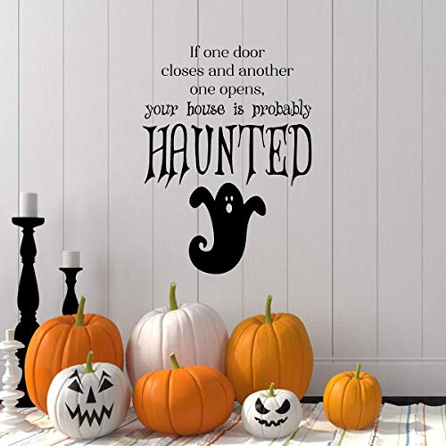 Haunted Halloween Decorations - Ghost Decal with Vinyl Lettering: If One Door Closes and Another one Opens, Your House is Probably Haunted.