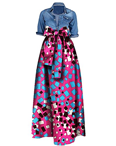[Huiyuzhi Womens African Print Dashiki Dress Long Maxi A Line Skirt Ball Gown (XXL, Rose Red)] (Plus Size Maxi Dresses)