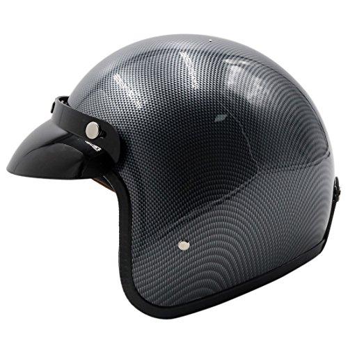 uxcell L Carbon Fiber Pattern 3/4 Open Face Motorcycle Helmet w Detachable Visor