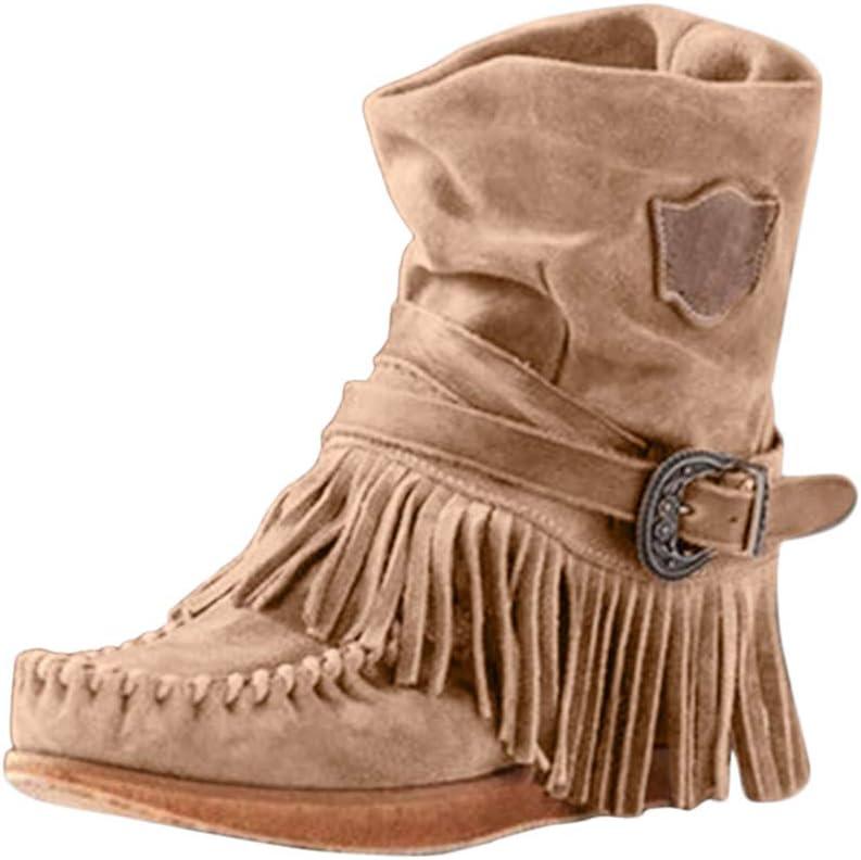 ღLILICATღ Botines de Invierno para Mujer, de caña Corta, con Flecos,Roma Retro Hebilla Botines Cortos Zapatos Planos: Amazon.es: Jardín